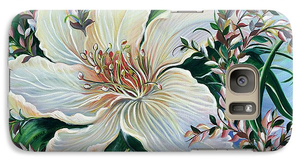 Galaxy Case featuring the painting White Lily by Yolanda Rodriguez