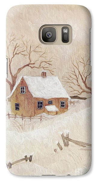 Galaxy Case featuring the photograph Winter Scene With Farmhouse/ Digitally Altered by Sandra Cunningham