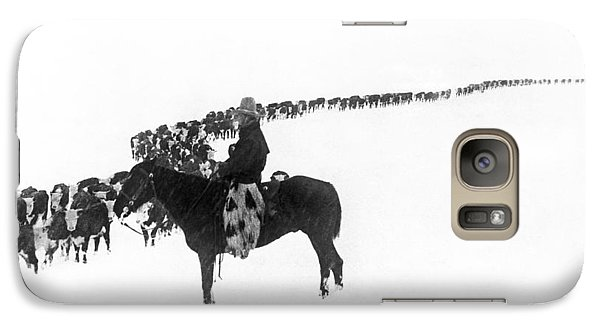 Cow Galaxy S7 Case - Wintertime Cattle Drive by Charles Belden