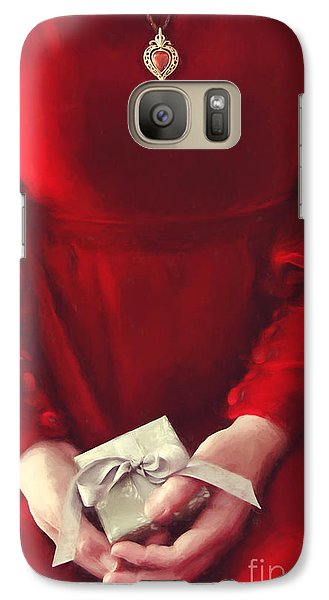 Galaxy Case featuring the photograph Woman In Red Dress Holding Gift/ Digital Painting by Sandra Cunningham