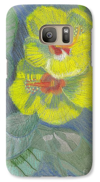 Galaxy S7 Case featuring the drawing Yellow Hibiscus by Rod Ismay