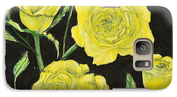 Galaxy Case featuring the painting Yellow Roses by Cathy Long