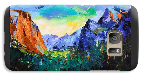 Galaxy Case featuring the painting Yosemite Valley - Tunnel View by Elise Palmigiani