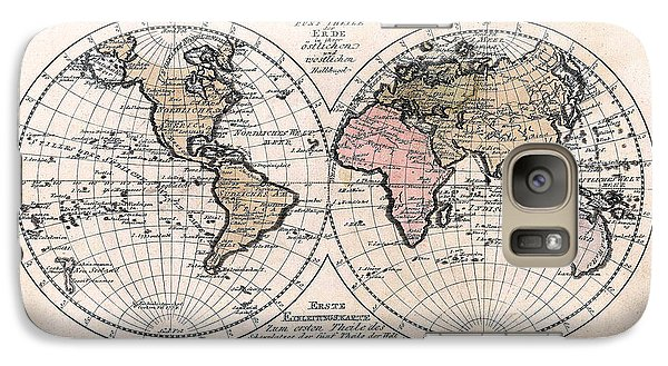 Galaxy Case featuring the photograph 1791 Antique World Map Die Funf Theile Der Erde by Karon Melillo DeVega