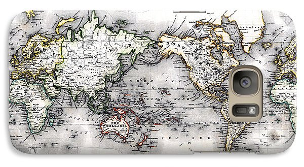 Galaxy Case featuring the photograph 1850 Antique World Map Welt Karte In Mercators Projektion by Karon Melillo DeVega