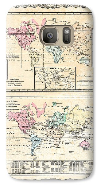 Galaxy Case featuring the photograph 1855 Antique First Plate Ortelius World Map Animal Kingdom World Commerce And Navigation by Karon Melillo DeVega