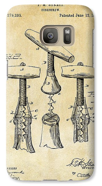 1883 Wine Corckscrew Patent Art - Vintage Black Galaxy S7 Case by Nikki Marie Smith