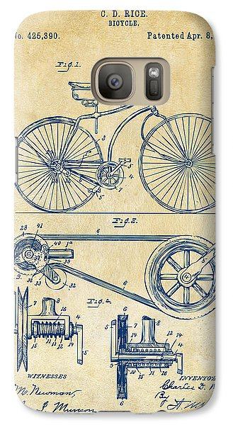Bicycle Galaxy S7 Case - 1890 Bicycle Patent Artwork - Vintage by Nikki Marie Smith