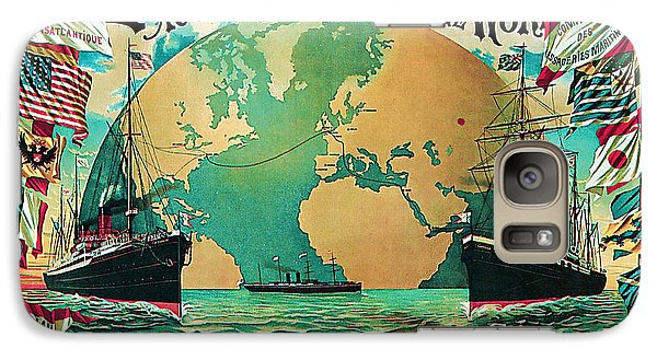 Galaxy Case featuring the mixed media 1890 Round The World Voyage - Vintage Travel Art by Presented By American Classic Art