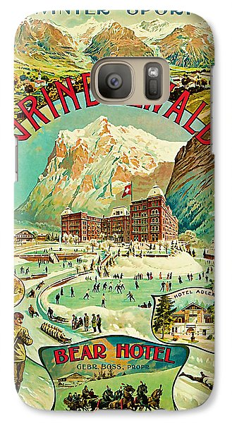 Galaxy Case featuring the mixed media 1893 Grindelwald Vintage Travel Art by Presented By American Classic Art
