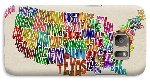 United States Typography Text Map Galaxy Case by Michael Tompsett