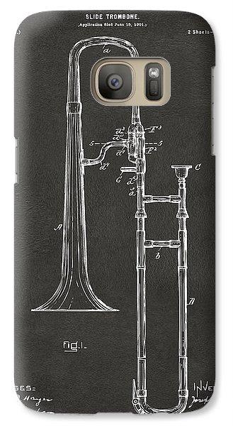 Trombone Galaxy S7 Case - 1902 Slide Trombone Patent Artwork - Gray by Nikki Marie Smith