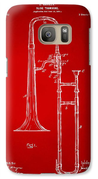 Trombone Galaxy S7 Case - 1902 Slide Trombone Patent Artwork Red by Nikki Marie Smith