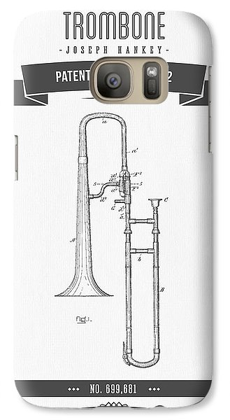 1902 Trombone Patent Drawing Galaxy S7 Case by Aged Pixel