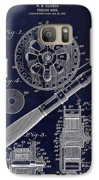 1906 Fishing Reel Patent Drawing Blue Galaxy S7 Case