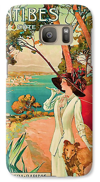 Galaxy Case featuring the mixed media 1910 Antibes Vintage Travel Art  by Presented By American Classic Art