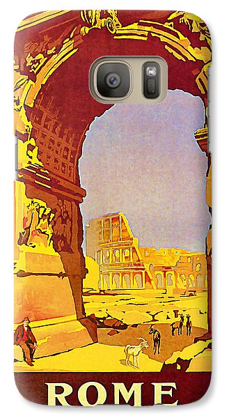 Galaxy Case featuring the mixed media 1921 Rome - Vintage Travel Art by Presented By American Classic Art