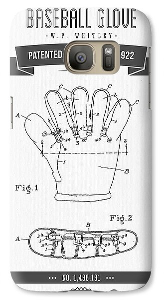 Softball Galaxy S7 Case - 1922 Baseball Glove Patent Drawing by Aged Pixel
