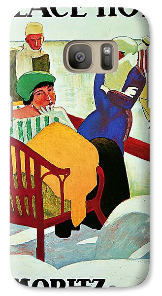 Galaxy Case featuring the mixed media 1922 Palace Hotel St Moritz - Vintage Travel Art by Presented By American Classic Art