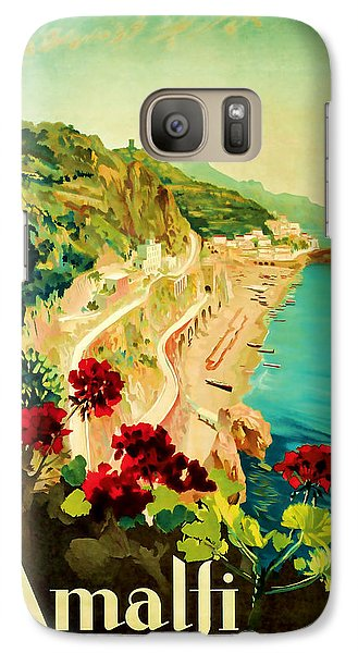 Galaxy Case featuring the mixed media 1927 Amalfi Italy Vintage Travel Art by Presented By American Classic Art
