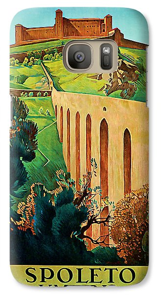 Galaxy Case featuring the mixed media 1927 Spoleto Vintage Travel Art by Presented By American Classic Art