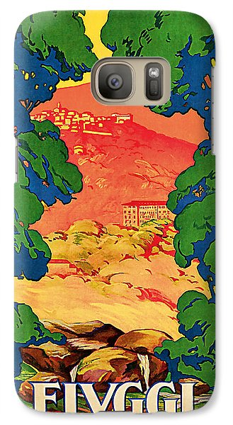 Galaxy Case featuring the mixed media 1928 Fivggi Vintage Travel Art by Presented By American Classic Art