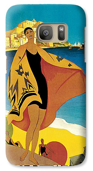 Galaxy Case featuring the mixed media 1928 La Plage De Calvi - Vintage Travel    Art by Presented By American Classic Art