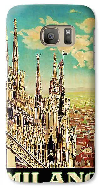 Galaxy Case featuring the mixed media 1928 Milano - Vintage Travel Art by Presented By American Classic Art