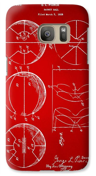 1929 Basketball Patent Artwork - Red Galaxy S7 Case by Nikki Marie Smith