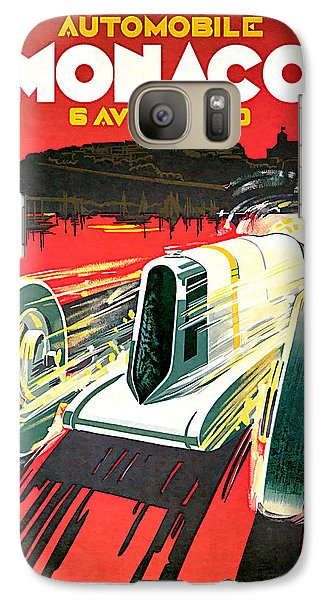 Galaxy Case featuring the mixed media 1930 Monaco Grand Prix Vintage Car Art by Presented By American Classic Art
