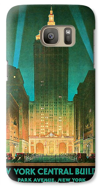 Galaxy Case featuring the mixed media 1930 New York Central Building - Vintage Travel Art by Presented By American Classic Art