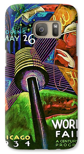 Galaxy Case featuring the mixed media 1934 Chicago Worlds Fair - Vintage Travel Art by Presented By American Classic Art