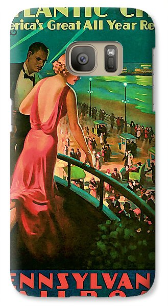 Galaxy Case featuring the mixed media 1935 Atlantic City Vintage Travel Art by Presented By American Classic Art