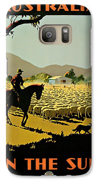 Galaxy Case featuring the mixed media 1935 Australia In The Sun - Vintage Travel Art by Presented By American Classic Art