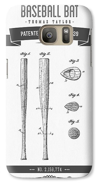 Softball Galaxy S7 Case - 1939 Baseball Bat Patent Drawing by Aged Pixel