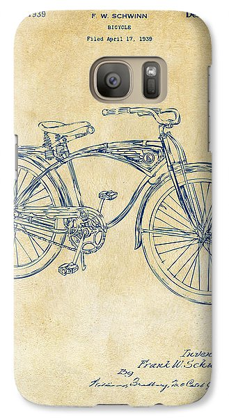 Bicycle Galaxy S7 Case - 1939 Schwinn Bicycle Patent Artwork Vintage by Nikki Marie Smith