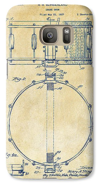 Drum Galaxy S7 Case - 1939 Snare Drum Patent Vintage by Nikki Marie Smith