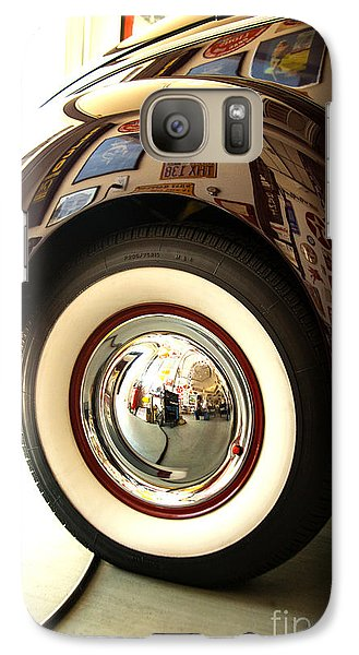 Galaxy Case featuring the photograph Classic Maroon 1940 Ford Rear Fender And Wheel   by Jerry Cowart