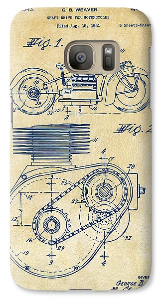 1941 Indian Motorcycle Patent Artwork - Vintage Galaxy S7 Case by Nikki Marie Smith