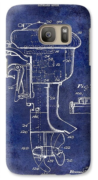 1947 Outboard Motor Patent Drawing Blue Galaxy S7 Case