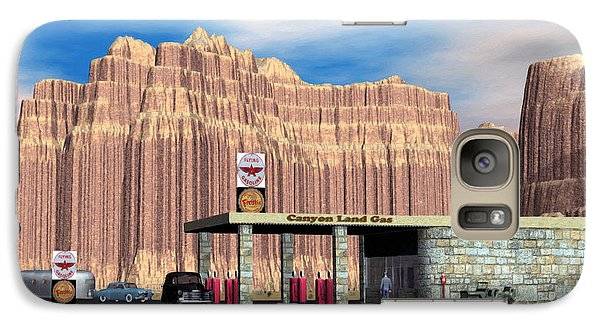 Galaxy Case featuring the digital art 1950 Route 66 Gas Station by Walter Colvin