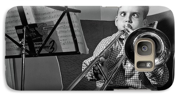 Trombone Galaxy S7 Case - 1950s Funny Cross-eyed Boy Playing by Vintage Images