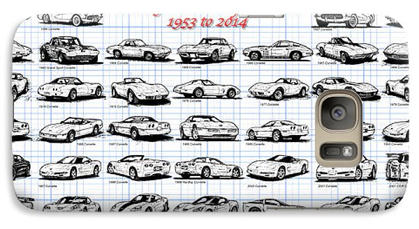 Galaxy Case featuring the drawing 1953-2014-corvettes by K Scott Teeters