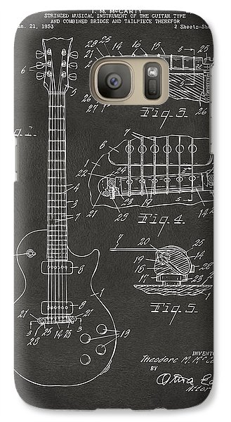 1955 Mccarty Gibson Les Paul Guitar Patent Artwork - Gray Galaxy S7 Case