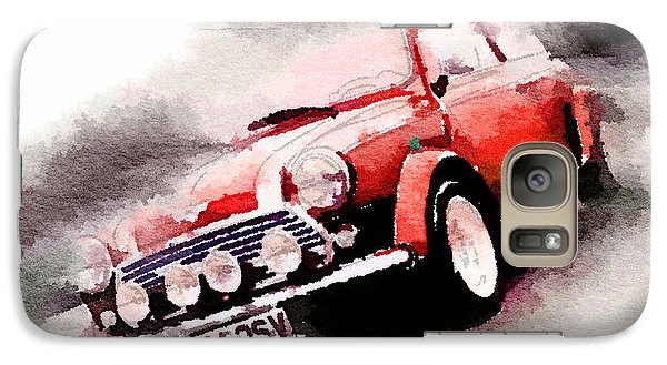 Austin Galaxy S7 Case - 1963 Austin Mini Cooper Watercolor by Naxart Studio