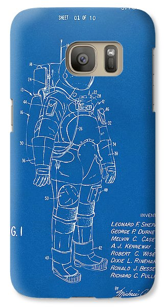 Space Ships Galaxy S7 Case - 1973 Space Suit Patent Inventors Artwork - Blueprint by Nikki Marie Smith