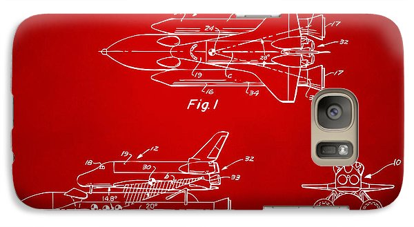 Space Ships Galaxy S7 Case - 1975 Space Shuttle Patent - Red by Nikki Marie Smith