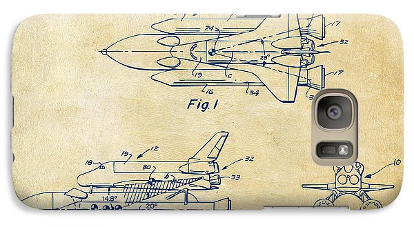 Space Ships Galaxy S7 Case - 1975 Space Shuttle Patent - Vintage by Nikki Marie Smith