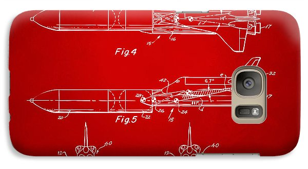Space Ships Galaxy S7 Case - 1975 Space Vehicle Patent - Red by Nikki Marie Smith