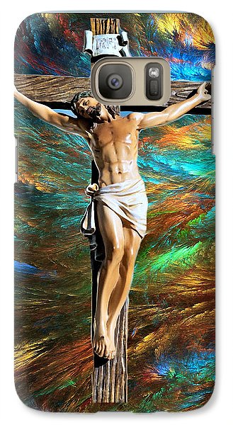 Galaxy Case featuring the painting 1cross3nails4given by Karen Showell